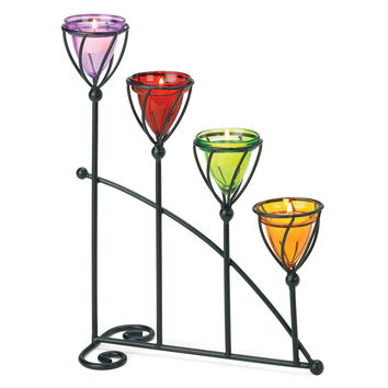 Zingz & Thingz Quartet Metal and Glass Candelabra
