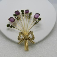 "Vintage Vendome Floral Bouquet Brooch, Purple, Green & Clear, Long Stems, Bow, 4.5"", 1960's"