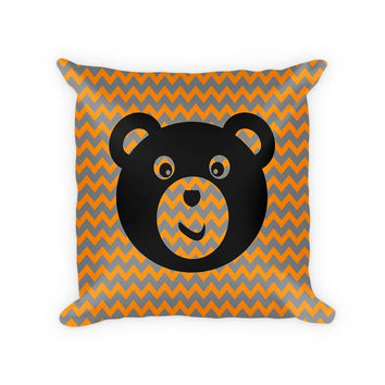 Teddy Bear I Children's Woven Cotton Throw Pillow