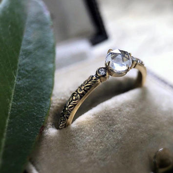 """Round Rose Cut Moissanite """"Jessica"""" Ring by CvB"""