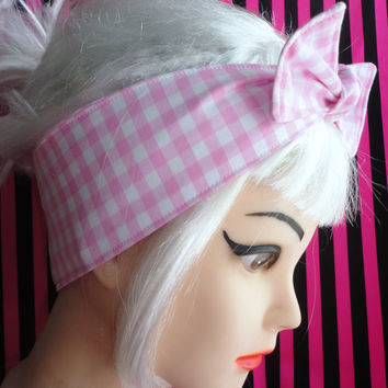 Pink and White GINGHAM BOW Headband Pinup Vintage Retro Style 50s Rockabilly bow