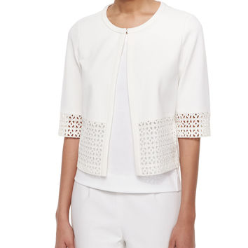 Women's Cardigan with Lace Trim - Lafayette 148 New York - White (MEDIUM)