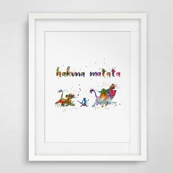 Hakuna Matata Watercolor Art Print Motivational Quotes Wall Art Gift Card The Lion King Nursery Inspirational Kids Room Artwork