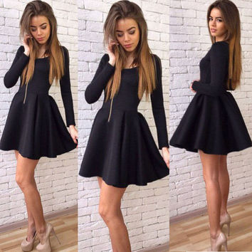 Summer Women's Fashion Long Sleeve Round-neck Slim Zippers One Piece Dress [6343451905]