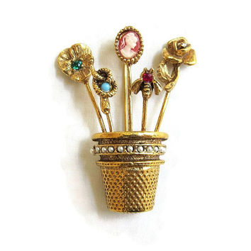 Vintage Thimble Hat or Stick Pins Collection Brooch with Snake, Cameo, Fly, and Rose with Rhinestones & Faux Pearls