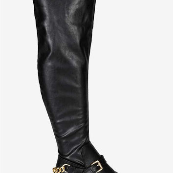 Over the Knee Thigh High Riding Boots - Black