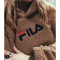 FILA Fashion Casual Long Sleeve To Keep Warm Lambs wool Hoodie Pullover Sweater F