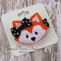 Fox Hair Clip, Orange Black White, Embroidered Felt Hair Accessory, Toddler Hair Clip, Girls Hair Clip, Toddler Hairclip, Fox Hairbow
