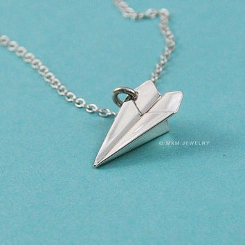 Tiny Paper Airplane II Pendant/Necklace by mxmjewelry on Etsy