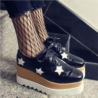 Women Goth Punk High Platform Flat Creepers Shoes For Women