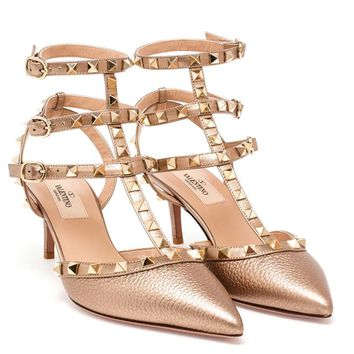 VALENTINO | Leather Rockstud Mid Heels | brownsfashion.com | The Finest Edit of Luxury Fashion | Clothes, Shoes, Bags and Accessories for Men & Women