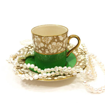English Demitasse Cup & Saucer, Simpsons Ambassador Ware, Green with Gold Chintz, Hibiscus Flower 1940s, Vintage Bone China Porcelain