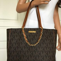 One-nice™ NWT MICHEAL KORS LARGE BROWN MK SIGNATURE PVC LEATHER CHAIN TOTE BAG PURSE