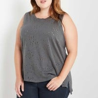 Distressed Tank Top Plus Size