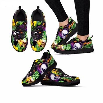Punk Tropical 💀👟 Skull Palm Leaves Pattern Breathable Sneakers