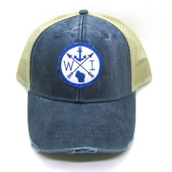 Wisconsin Trucker Hat - Snapback Trucker Hat - Wisconsin Navy on White Patched Arrow Compass Anchor