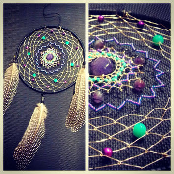 Large Amethyst Dream Catcher with Freshwater Pearls, Dragon's Vein Agate and Deerskin Hippie Dorm Decor