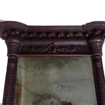 Antique Wood Gesso Wall Mirror with Columns Long Rectangular Dark Brown and Gold Flecks