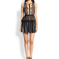 BCBGMAXAZRIA - Layton Lace & Faux Leather Dress