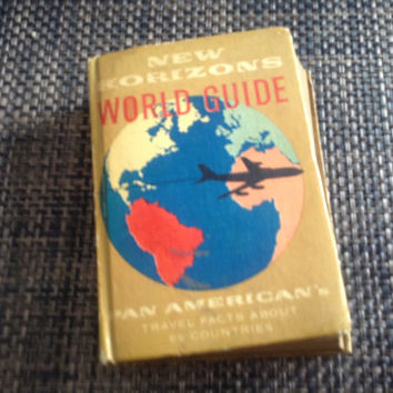 New Horizons Workd Guide Pan American's Travel Facts About 89 countries 1959 vintage travel books Pan Am collectible