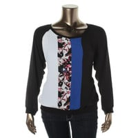 NY Collection Womens Colorblock Printed Blouse