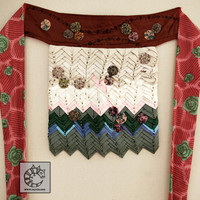 Modern Apron- Wearable Art Wrap with Prairie Points