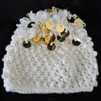 Vintage Girl's Hat with Spangles - 1960s White Hat - Small