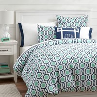 Trellis Twist Duvet Cover + Sham, Pool/Royal Navy