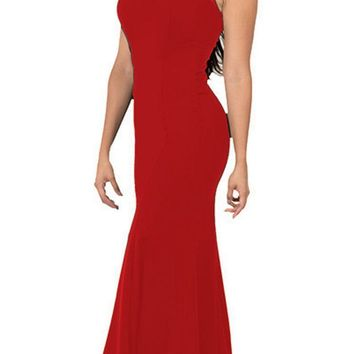 Illusion Round Neckline Sleeveless Long Formal Dress Red