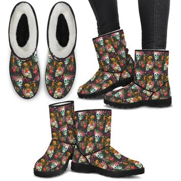 Skull & Flowers Eco Fur Boots