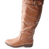 Bamboo Belted Flat Knee-High Riding Boots - Chestnut