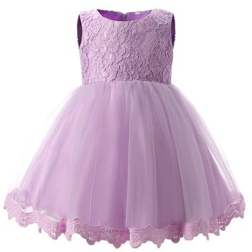 Baptism Party girls Wedding Tutu Dress Baby Girl Newborn 1 2 year Birthday Princess Dresses infant Girl Dress kids Clothes