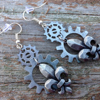 Steampunk Fleur de lis French Gear Earrings -Steampunk -Gear Dangle Earrings-Christmas -Holiday -Gifts for her -Women Gifts -steampunk gift