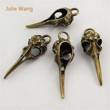 ESBONJ Julie Wang 5pcs Mini Charms Antique Bronze Skull Bird Head Pointed Mouth Pendant Handmade Hanging Crafts