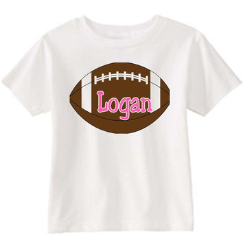 Football on Personalized White T-Shirt Pink