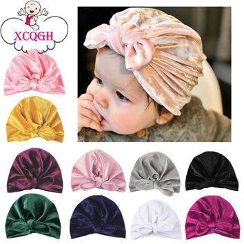 XCQGH Rabbit Ear Baby Hat for Girls Autumn Winter Baby Boy Cap Photography Props Elastic Infant Beanie Turban Hat Baby Accessori