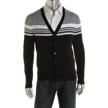 Alfani Mens Striped Button Front Cardigan Sweater
