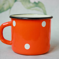 Red Polka Dot Cup / Cute Soviet Vintage Enamel Camping Tea Cup / Farmhouse Chipped Up Orange Mug with White Spots, Circa 1970's USSR