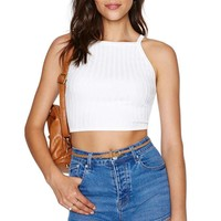 Knit Pick Crop Top - White