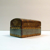 Vintage Italy Toleware Gilt Trinket Ring Match Box Gold Florentine Hollywood Regency Dome top Chest
