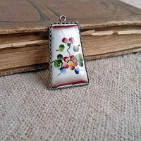 Vintage Pendant, metal, enamel, Vintage, Jewelry, Pendant, Necklace, Earrings, Art, Home decor, found object art, recycle upcycle