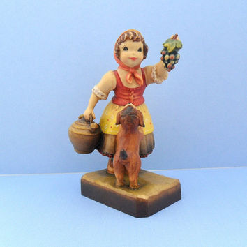 Club Anri Figurine Harvest Helper Grapes Vineyard Wine Making Decor Collectible Girl with Dog Juan Ferrandiz Woodcarving