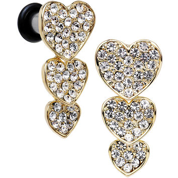 4 Gauge Clear Gem Steel Triple Heart Single Flare Dangle Plug Set