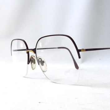 vintage 1980's NOS d'arrigo eyeglasses oversized round gold burgundy metal frames prescription women eye glasses eyewear italy half rimless