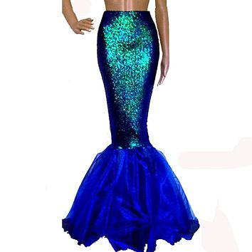 Hirigin Hot Sale Sexy Beauty Mermaid Women Costume Fancy Skirts Fashion Party Sequins Long Tail Ladies Full Skirt Gifts