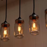 Mason Jar Chandelier - Mason Jar lighting - Upcycled Wood