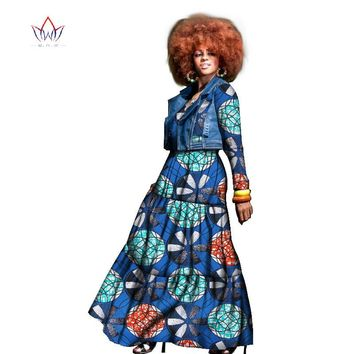 African dress for women two pieces coat and dress traditional african clothing dashiki plus size natural set