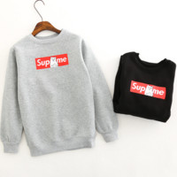 Supreme Ripndip Middle finger printing and flocking cat collar fleece lovers Grey