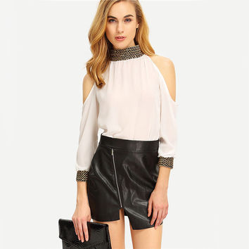 White Cold Shoulder Sequined Chiffon Shirt