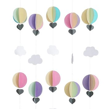 Pastel Hot Air Balloon Hearts Cloud Baby Nursery Garland Banner 5 Strands 3D Decoration